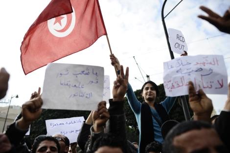 Protestas en el centro de Túnez. | Afp