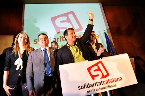 Joan Laporta celebra su resultado en las últimas elecciones catalanas. | S. Cogolludo