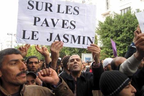 'Sobre las piebras, un jazmin', se lee en el cartel de un manifestante tunecino. | Efe