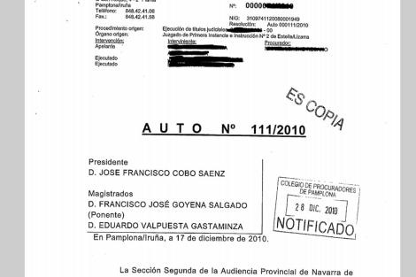 Encabezamiento del auto 111/2010. | ELMUNDO.es