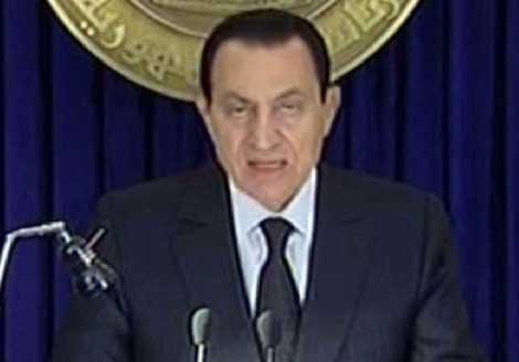 Imagen de la intervención de Hosni Mubarak por televisión. | Afp