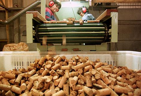 Una fábrica de tapones de corcho en Portugal.