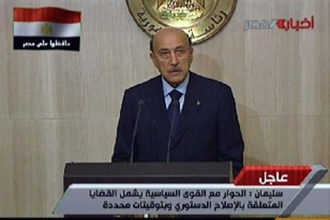 Suleiman se dirige al pueblo a través de la televisión estatal. | Afp