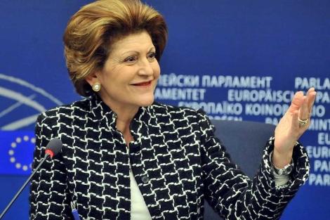 La comisaria Androulla Vassiliou, durante una rueda de prensa.| afp