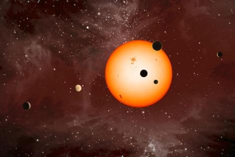 Recreación del sistema planetario de Kepler-11.|Nature|NASA