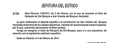 Decreto de nombramiento de Del Bosque.