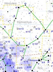 Zeta Oph (cerca de M107) en la constelación de Ofiuco. | T. Bronger