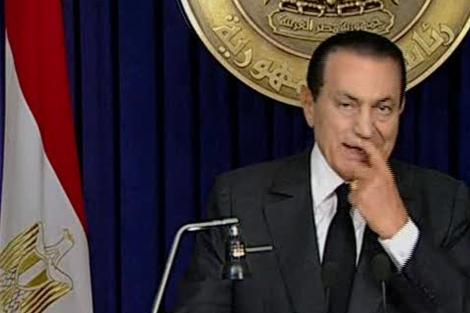 El presidente egipcio Hosni Mubarak durante el discurso de ayer. | AP