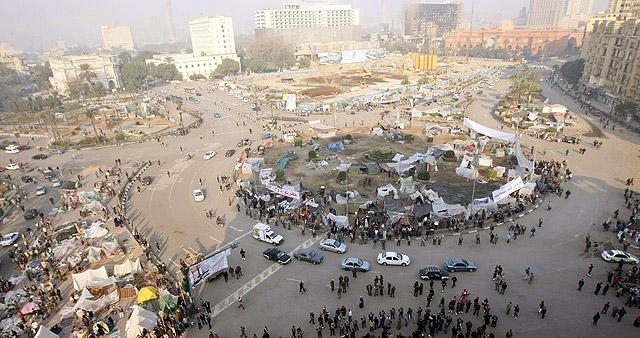 La plaza Tahrir comienza a recuperar la normalidad.   Afp