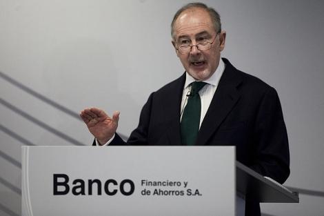 Rodrigo Rato, durante la presentación de los resultados de Banco Financiero y de Ahorros.   Roberto Cárdena