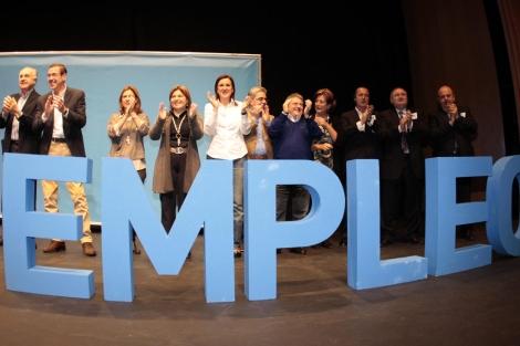 Los dirigentes del PP valenciano durante el acto electoral en Torrent. | PP