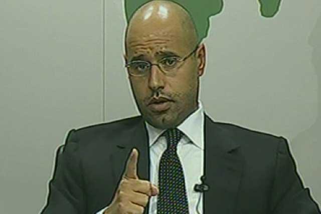 Saif el Islam en una imagen tomada de la televisión estatal libia. | Reuters