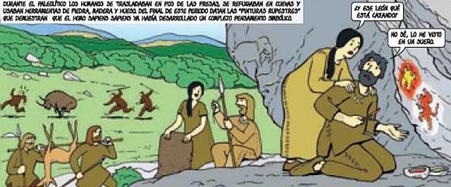 Uno de los errores. Hombres prehistóricos dibujando escudos de Castilla y León.