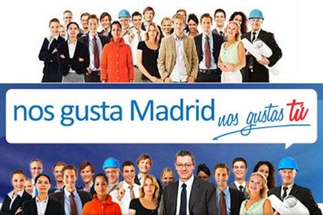 Arriba, la imagen original plagiada. Debajo, como se ve en la página web de Gallardón.