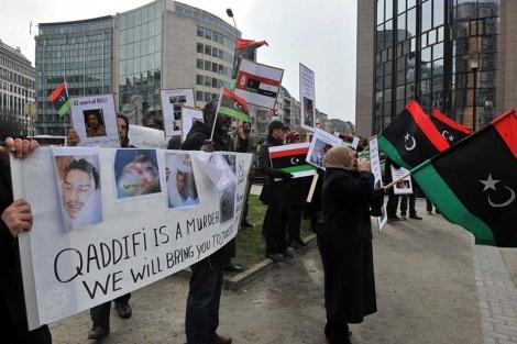 Protesta frente a la sede del Consejo Europeo en Bruselas.| afp