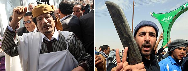Gadafi, en su aparición pública y rebeldes tras mantener la ciudad de Brega. AFP/Reuters