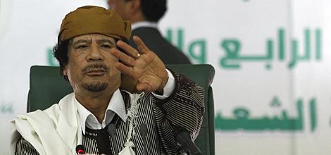 Gadafi, durante una de sus alocuciones a la población.   Reuters