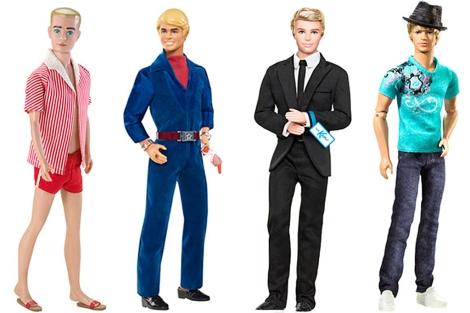 Cuatro encarnaciones de Ken en los años 60, 70, 90 y 2010.