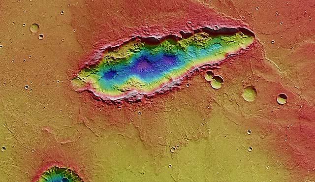 Imagen 3D del cráter alargado en Marte. | ESA/DLR/FU Berlin (G. Neukum)