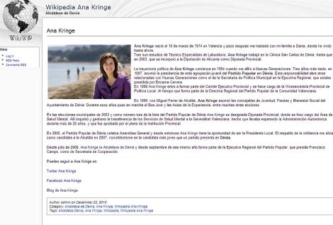 Captura de la entrada sobre Kringe en la falsa Wikipedia.
