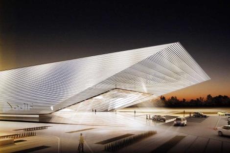 Recreación del vestíbulo principal de la estación del AVE de Huelva de De la Hoz. | E. Domínguez