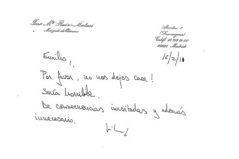 Una de las misivas dirigida a Botín.
