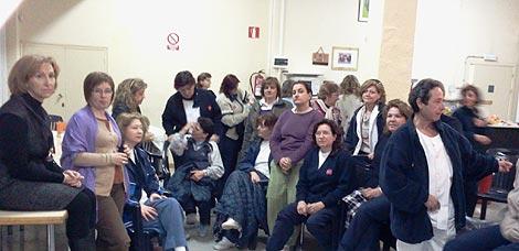 Encierro de trabajadores del centro Magerit. (Sinova)