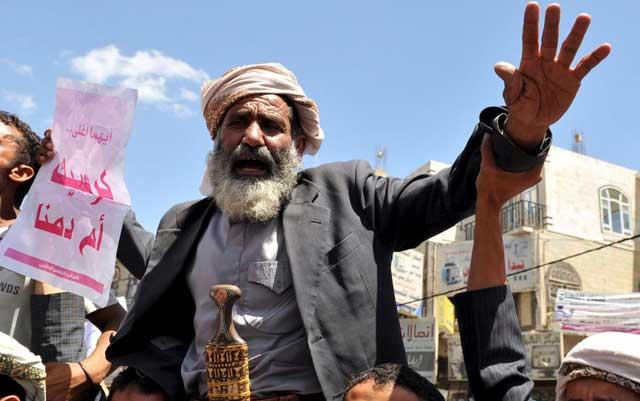 Manifestantes contrarios al régimen se manifiestan en Saná. | Efe