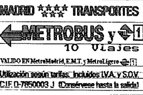 Imagen de un Metrobus comprado el pasado día 8.