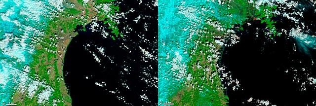 La costa japonesa antes (izda.) y después del terremoto. | NASA