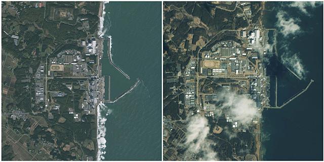 La central nuclear de Fukushima Daiichi, antes y después del terremoto. | Reuters/GeoEye