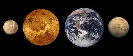Comparación de Mercurio, Venus, la Tierra y Marte. | NASA,Mariner 10, USGS