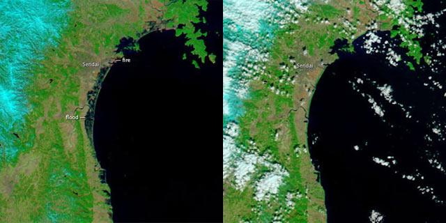 A la izquierda se aprecia la inundación tras el 'tsunami'; a la derecha, la zona el 26 de febrero, antes del terremoto.   Nasa