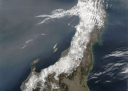 La fotografía tras el 'tsunami', con su color original.   Nasa
