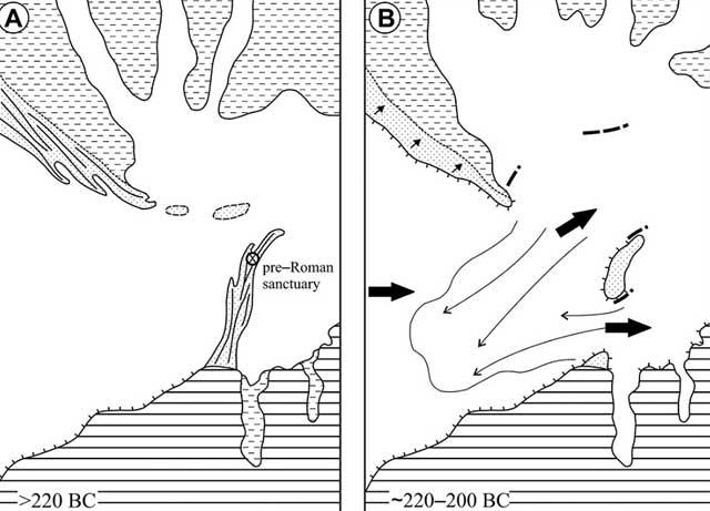 Evolución hisórica del terreno estudiado hacia el 220 a.C, y después del tsunami.   Universidad de Huelva.