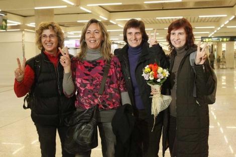 Las cuatro inqueras a su llegada a Palma. | Cati Cladera