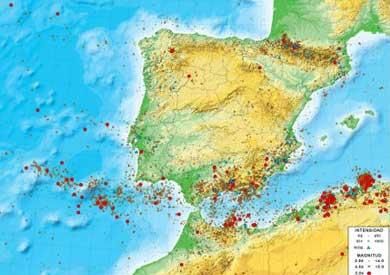 Mapa de sismicidad en la Península. | Instituto Geográfico Nacional.