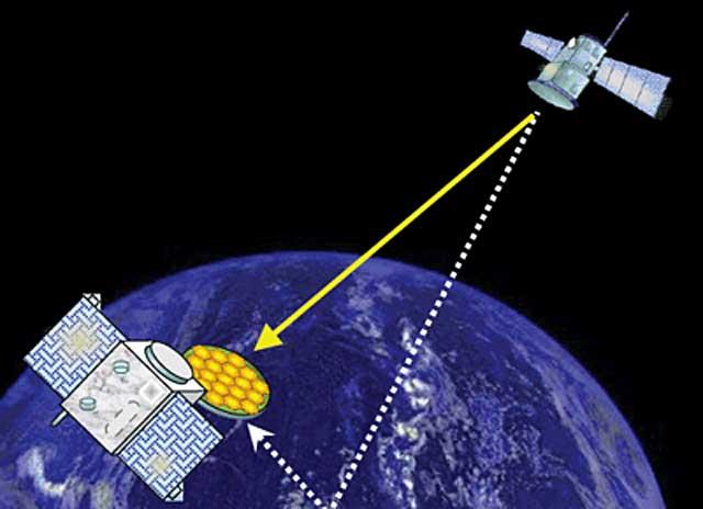 Recreación de un satélite PARIS captando la señal de un sistema de navegación   Agencia Espacial Europea (ESA).