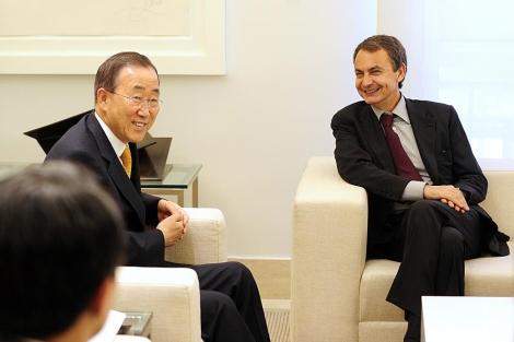 Ban Ki-moon y Rodríguez Zapatero, en un encuentro en 2010. | Bernardo Díaz