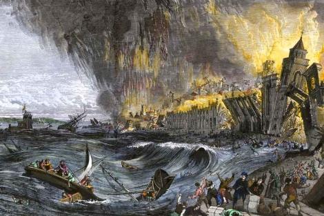 Recreación artística del tsunami de Lisboa de 1755. | Getty Images