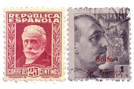 Dos sellos con los retratos de Pablo Iglesias y Francisco Franco.