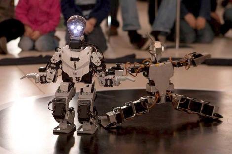 Pareja de robots en el evento en Viena. | Efe