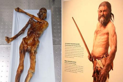 A la derecha, la imagen reconstruida de la momia.