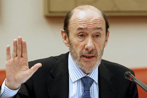 Alfredo Pérez Rubalcaba comparece en la Comisión de Interior del Congreso. | Efe