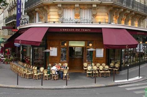 Estufas en una terraza de un café parisino.