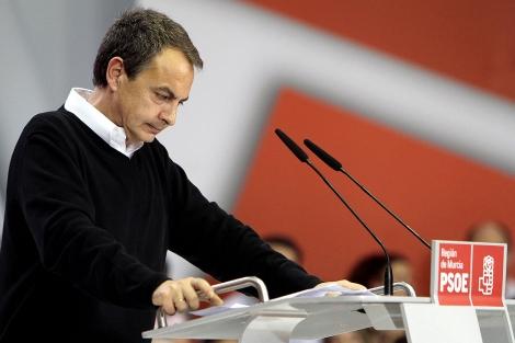 José Luis Rodriguez Zapatero, durante su mitin del pasado domingo en Murcio. | Reuters