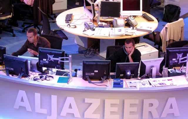 Imagen de la redacción del canal en Doha. | AP