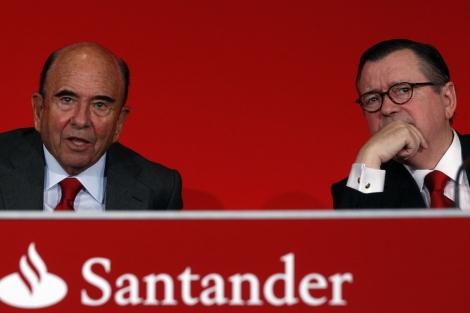 El presidente del Santander, Emilio Botín (izq.), y el consejero delegado, Alfredo Sáenz. | J. Barbancho