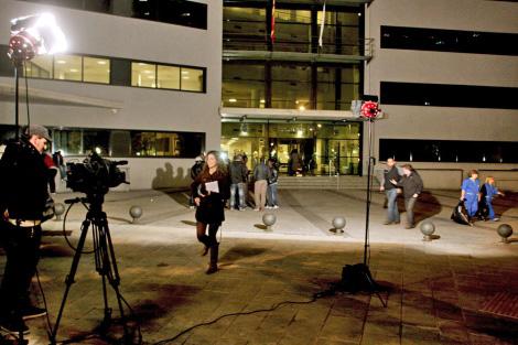 Periodistas a las puertas del juzgado de Lugo. | Eliseo Trigo