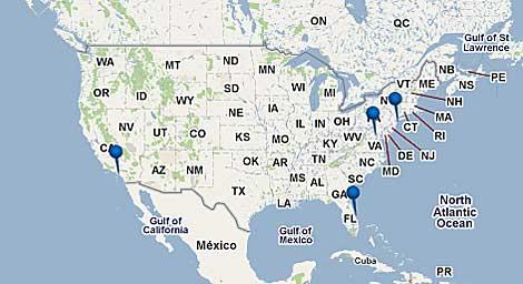 El mapa muestro los cuatro lugares a los que serán trasladados los transbordadores. | NASA